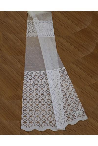 Caserta Home 1/2,5 Orta Pileli Kdk Begonya Ara Kortlu Beyaz Tül Perde - 75 x 150 cm
