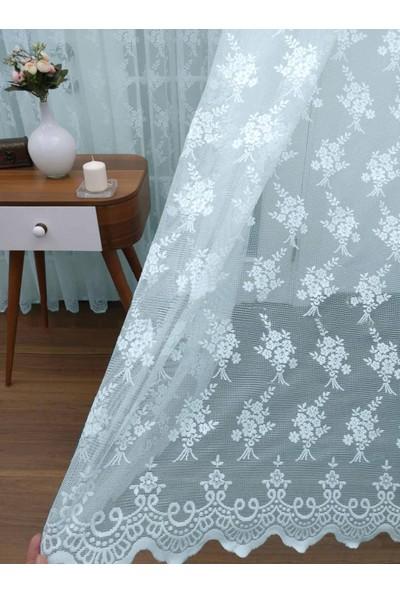 Caserta Home 1/2,5 Orta Pileli Seher Turkuaz Demet Çiçek Desenli Örme Tül Perde - 100 x 150 cm