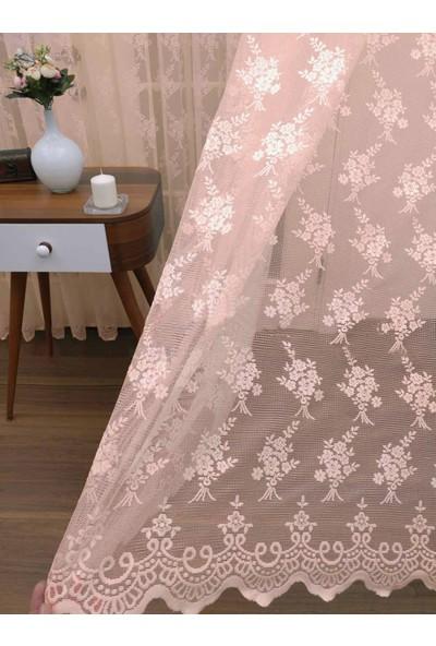 Caserta Home Seher Pudra Pilesiz Demet Çiçek Desenli Örme Tül Perde - 100 x 150 cm