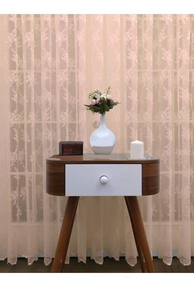 Caserta Home Seher Pudra Pilesiz Demet Çiçek Desenli Örme Tül Perde - 75 x 150 cm