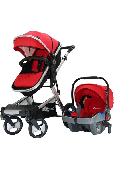 Yoyko Elegance Travel Sistem Bebek Arabası 3 in 1 Kırmızı Silver