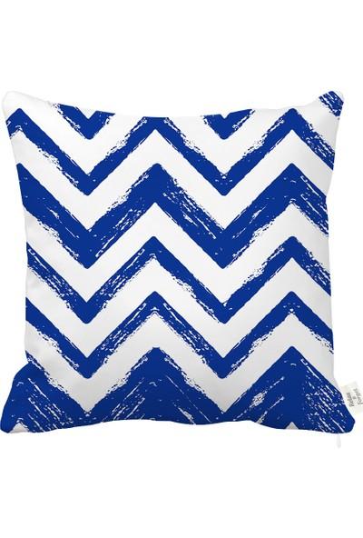 Rahat Yaslan Lacivert Zigzag Dekoratif Kırlent Kılıfı