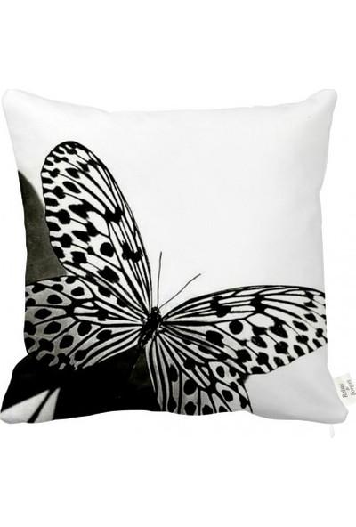 Rahat Yaslan Siyah Beyaz Kelebek Motifli Dekoratif Kırlent Kılıfı