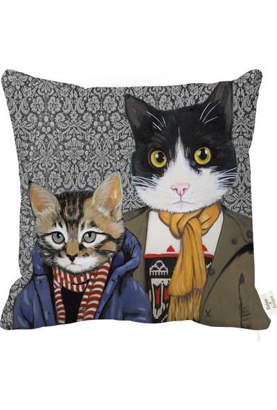 Rahat Yaslan Cool Cat Dekoratif Kırlent Kılıfı