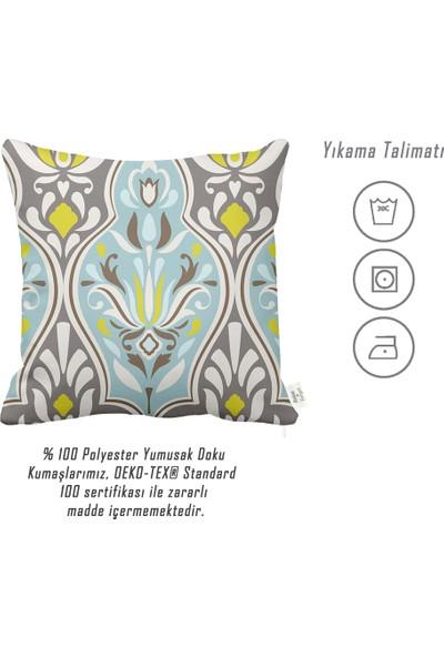 Rahat Yaslan Turkuazlı Sarılı Damask Desenli Dekoratif Kırlent