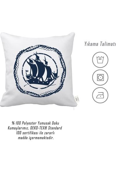 Rahat Yaslan Korsan Gemili Dekoratif Kırlent Kılıfı