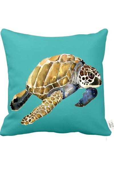 Rahat Yaslan Deniz Kaplumbağası Turkuaz Dekoratif Kırlent Kılıfı