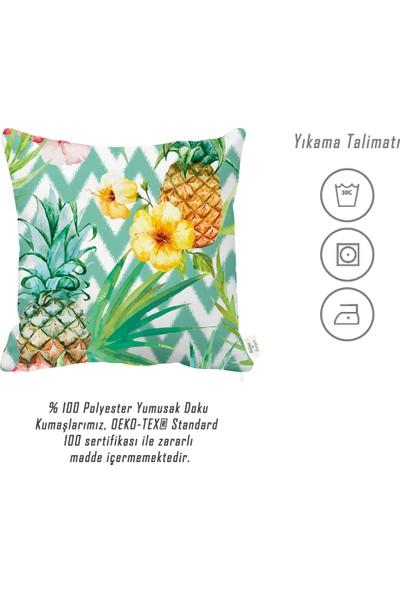 Rahat Yaslan Yeşil Zigzaglı Ananas Motifli Dekoratif Kırlent Kılıfı