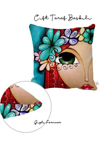 Rahat Yaslan Kızıl Saçlı Kız Dekoratif Kırlent Kılıfı
