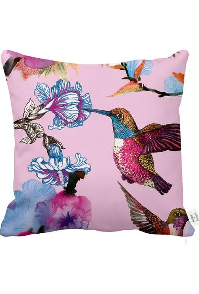 Rahat Yaslan Tropikal Kuşlar Pembe Dekoratif Kırlent Kılıfı
