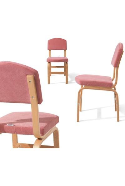 Evmazon Mutfak Masa Takımı Nilsa Naturel Ahşap Açılır Masa 2 Mavi 2 Pembe Sandalye
