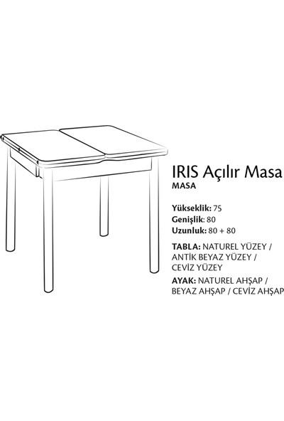 Evmazon Mutfak Masa Takımı Nilsa Ceviz Ahşap Açılır Masa 4 Beyaz Sandalye