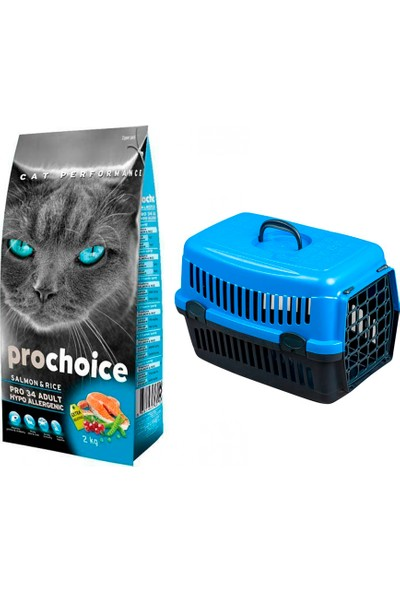 Pro Choice Somonlu Yetişkin Kedi Maması 2 kg + Pet Style Taşıma Çantası 49 cm Mavi