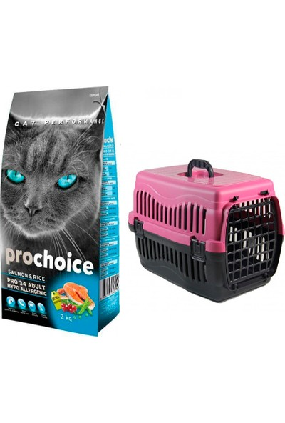 Pro Choice Somonlu Yetişkin Kedi Maması 2 kg + Pet Style Taşıma Çantası 49 cm Pembe