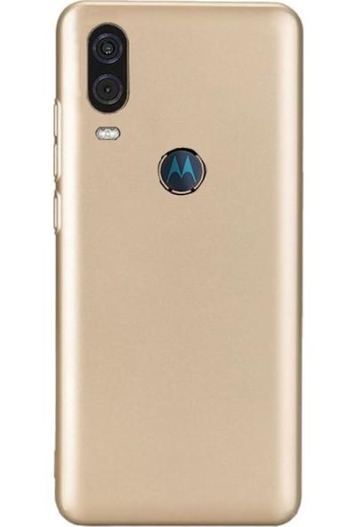Microcase Motorola Moto One Vision Premium Matte Silikon Kılıf Gold
