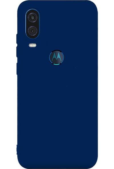 Microcase Motorola Moto One Vision Premium Matte Silikon Kılıf Lacivert