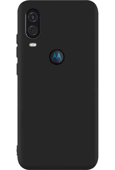 Microcase Motorola Moto One Vision Premium Matte Silikon Kılıf Siyah