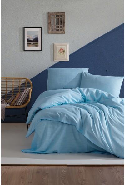 Lady Moda Terry Cotton Çift Kişilik Nevresim Takımı - Mavi