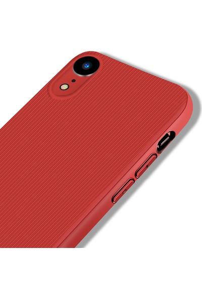 LionTech Apple iPhone XR Kılıf Striped Soft Tio Silikon Kapak Kırmızı