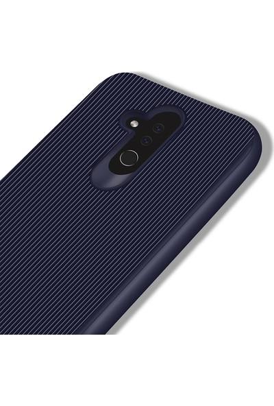 LionTech Huawei Mate 20 Lite Kılıf Striped Soft Tio Silikon Kapak Lacivert