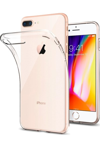 Soultech Apple iPhone 8 Plus Silikon Kılıf Beyaz - SLK199B