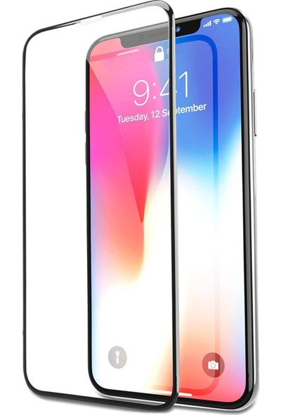 Soultech Apple iPhone X/Xs (Colorful) Platinum Cam Ekran Koruyucu Siyah - EK807S