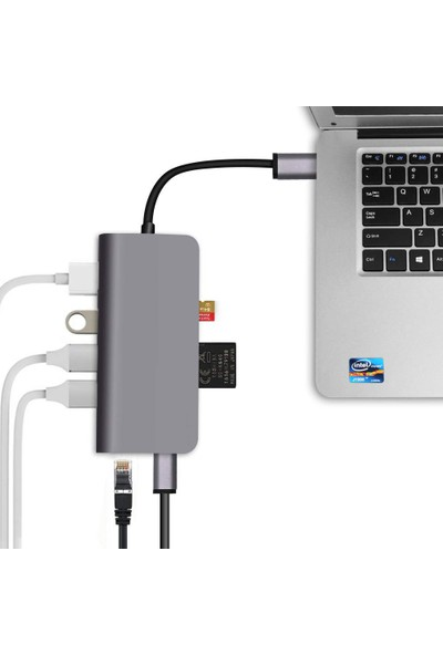 Codegen USB 3.1 Type-C - 8in1 3xUSB 3.0+HDMI+USB 3.1 Type-C + RJ45 Ethernet+ SD/Micro SD Kart CDG-CNV40