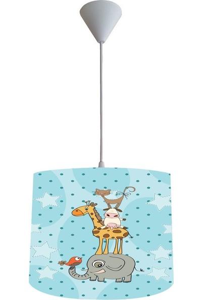 Consept Home Chl-114 Sevimli Hayvanlar Mavi Çocuk Odası Lambası