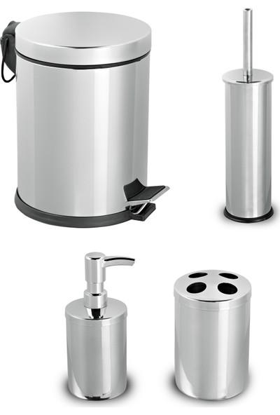 Aksesuaros Banyo Seti Çöp Kovası + Klozet Fırça + Diş Fırçalık + Sabunluk