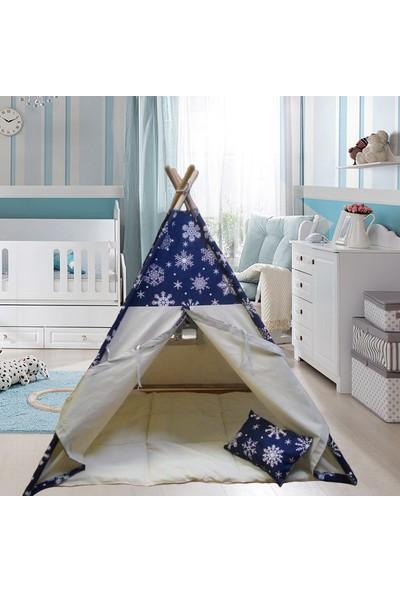 Altev Ahşap Çoçuk Çadırı Kızılderili Çadırı Oyun Evi Kamp Çadırı - Kar Tanesi