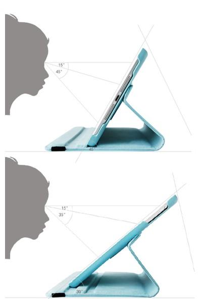 EssLeena Samsung Powers Kılıf Seti Galaxy Tab E Sm-T560/T561/T562/T565/T567 9.6 İnç 360 Derece Dönebilen Kılıf+330 Derece Bükülebilen Nano Ekran Koruyucu+Kalem+Şarj Seti Beyaz