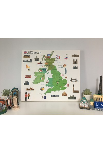 Mapofx Kanvas Ingiltere Haritası Illustrasyonu