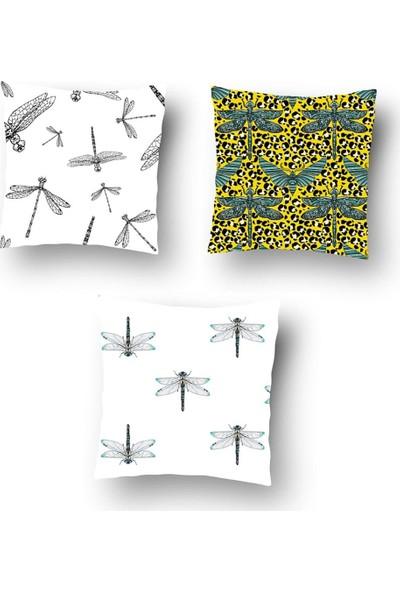 Tezko Tekstil Yusufçuk Desen Dijital Baskılı 3'lü Kombin Dekoratif Yastık Kırlent Kılıfı