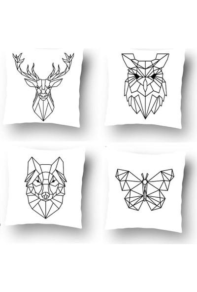 Tezko Tekstil Dijital Baskılı 4'lü Kombin Dekoratif Yastık Kırlent Kılıfı