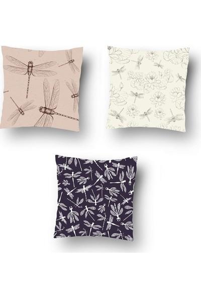 Tezko Tekstil Soft Yusufçuk Desen Dijital Baskılı 3'lü Kombin Dekoratif Yastık Kırlent Kılıfı