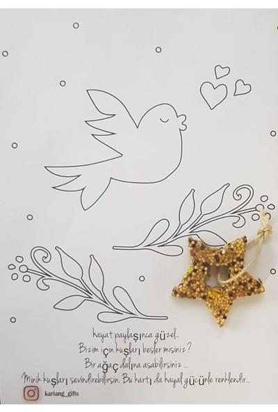 Kariang Kuş Yemi Kuş Kurabiyesi Davetiyeli Boyama Kartlı Nişan Nikah Kına Doğum Günü Baby Shower Hediyesi 1 Adet