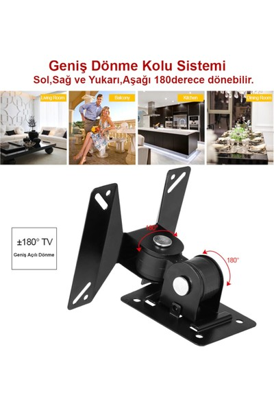 "Triline Ledtv LCD Monitör Duvar Askı Aparat Hareketli 14-24"" 15KG"
