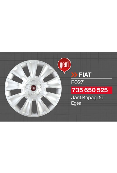"Tisa Fiat Egea 16"" Jant Kapağı 4'lü Takım JKF027"