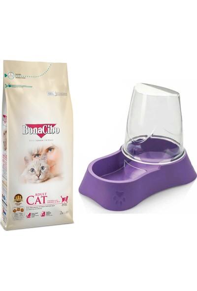 Bonacibo Adult Yetişkin Kediler İçin Özel Tavuklu Kedi Maması 2 kg + Evohe Mama Kabı