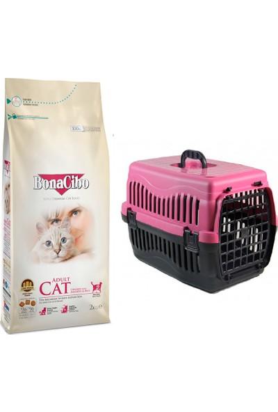 Bonacibo Adult Yetişkin Kediler İçin Özel Tavuklu Kedi Maması 2 kg + Pet Style Taşıma Çantası 49 cm Pembe