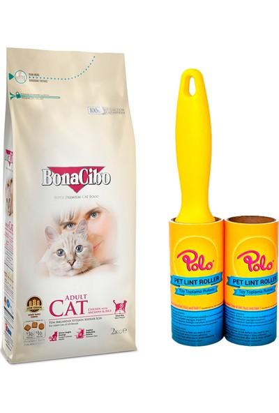 Bonacibo Adult Yetişkin Kediler İçin Özel Tavuklu Kedi Maması 2 kg + Polo Tüy Toplama Rulosu