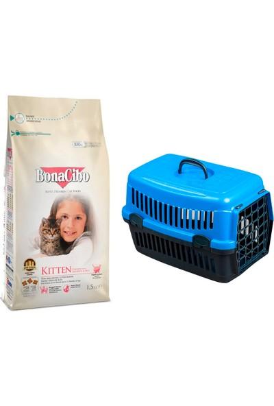 Bonacibo Kitten Tavuklu ve Hamsili Kuru Kedi Maması 1,5 kg + Pet Style Taşıma Çantası 49 cm Mavi