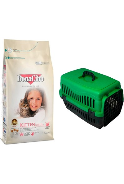 Bonacibo Kitten Tavuklu ve Hamsili Kuru Kedi Maması 1,5 kg + Pet Style Taşıma Çantası 49 cm Yeşil