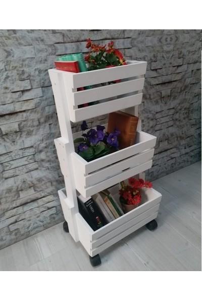Üç Çekmeceli, Tekerlekli, Çok Amaçlı Sebzelik ve Çiçeklik