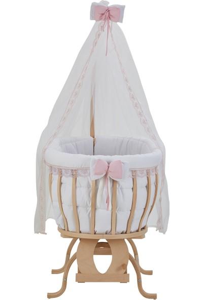 Babycom Doğal Boyasız Ahşap Sepet Beşik, Anne Yanı Beşik+ Beyaz - Pembe Fransız Dantel Uyku Seti