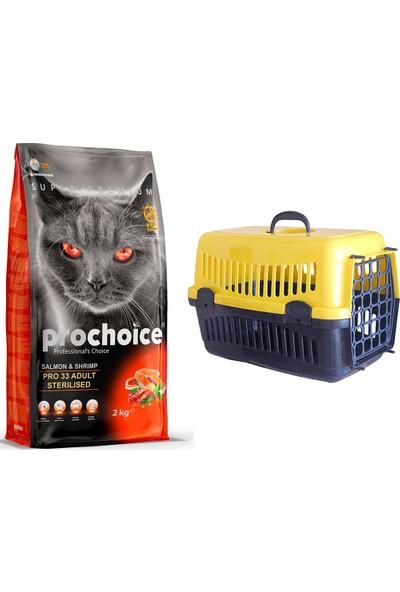 Prochoice Sterilised Somon & Karides Pro 33 Yetişkin Kısırlaştırılmış Kedi Maması 2 kg + Pet Style Taşıma Çantası 49 cm Sarı