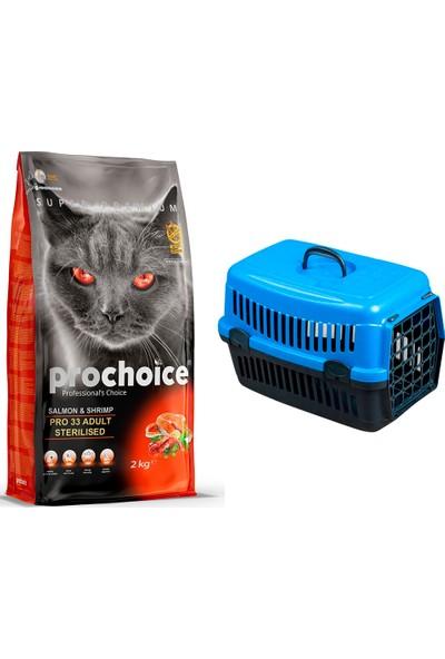 Prochoice Sterilised Somon & Karides Pro 33 Yetişkin Kısırlaştırılmış Kedi Maması 2 kg + Pet Style Taşıma Çantası 49 cm Mavi