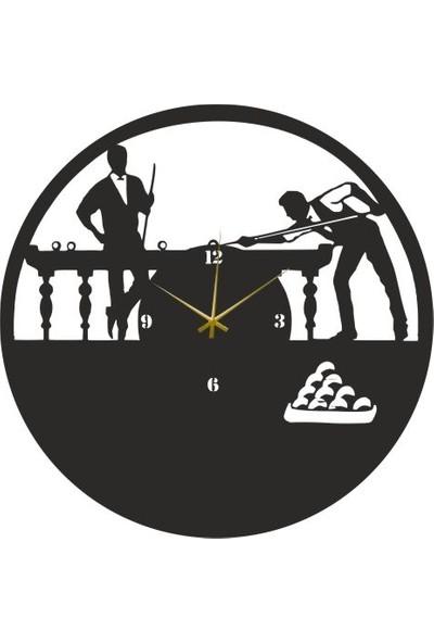 Hediyelikevi Ahşap Bilardo Temalı Duvar Saati