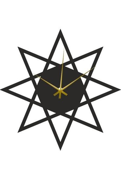 Hediyelikevi Ahşap Yıldız Dekorlu Duvar Saati