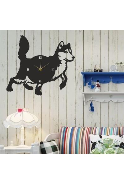 Hediyelikevi Ahşap Husky (Köpek) Temalı Duvar Saati